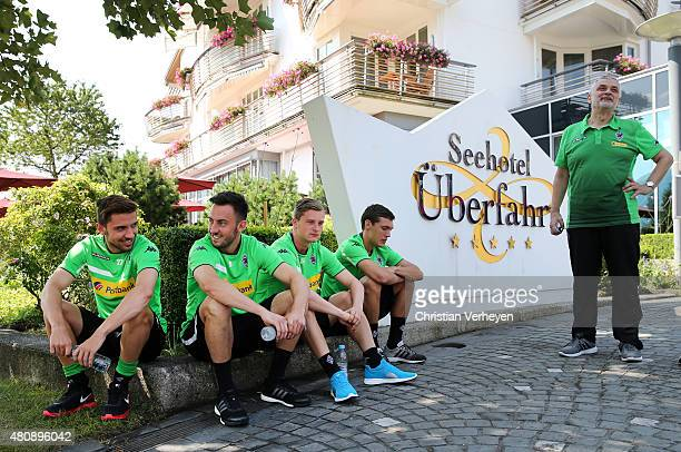 Julian Korb Josip Drmic Marlon Ritter Andreas Christensen and Dr Heribert Ditzel of Borussia Moenchengladbach waiting to start a mountainbike tour in...
