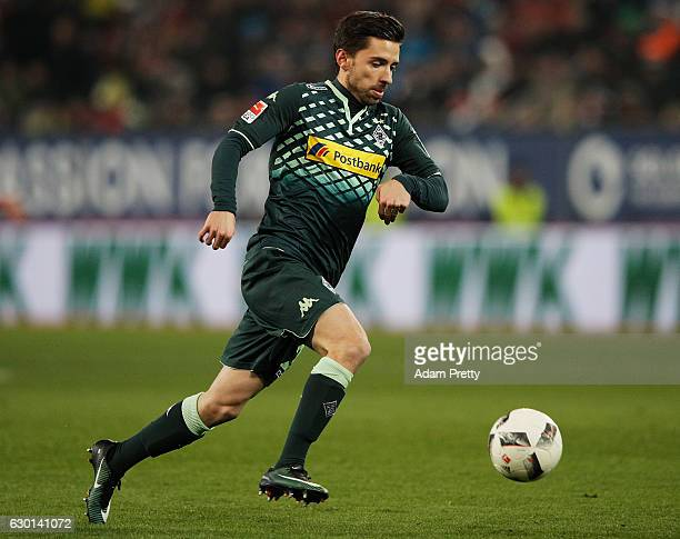 Julian Korb of Borussia Moenchengladbach in action during the Bundesliga match between FC Augsburg and Borussia Moenchengladbach at WWK Arena on...
