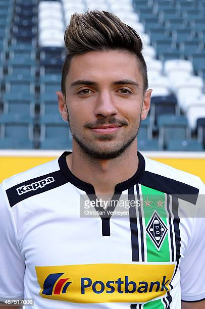 Julian Korb of Borussia Moenchengladbach poses during the Borussia Moenchengladbach team presentation at BorussiaPark on September 10 2015 in...