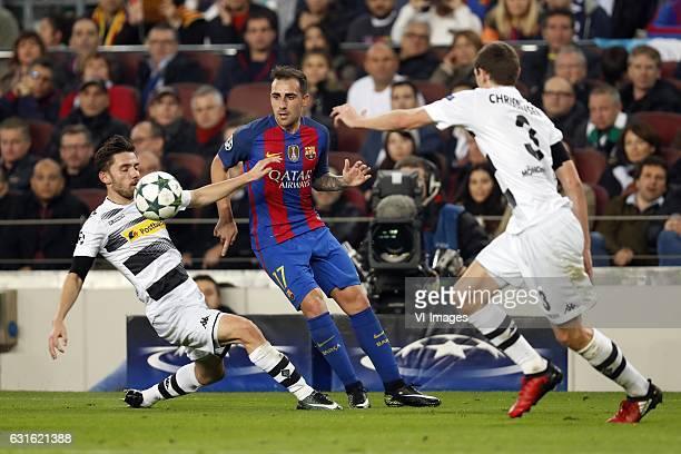 Julian Korb of Borussia Monchengladbach Paco Alcacer of FC Barcelona Andreas Christensen of Borussia Monchengladbachduring the UEFA Champions League...