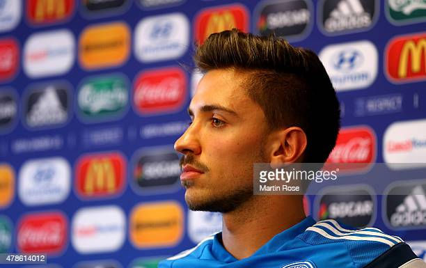 Julian Korb of Germany attends a press conference ahead of the UEFA European Under21 semi final match against Portugal at Ander Stadium on June 26...