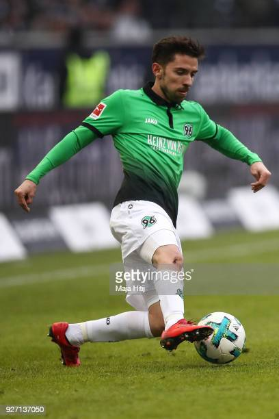Julian Korb of Hannover 96 controls the ball during the Bundesliga match between Eintracht Frankfurt and Hannover 96 at CommerzbankArena on March 3...