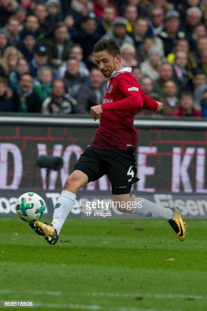 Julian Korb of Hannover 96 controls the ball during the German Bundesliga match between Hannover 96 v Borussia Dortmund at the HDI Arena on October...