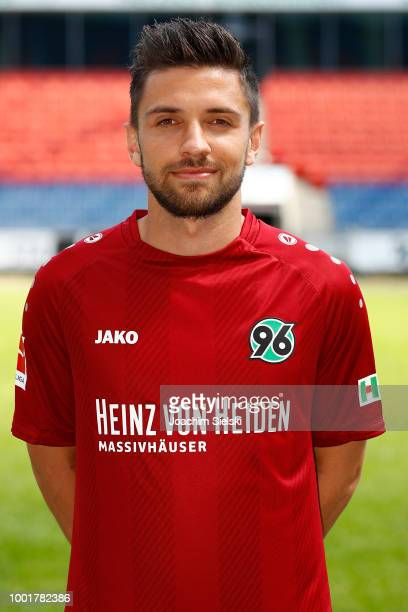 Julian Korb of Hannover 96 poses during the team presentation at HDIArena on July 19 2018 in Hanover Germany
