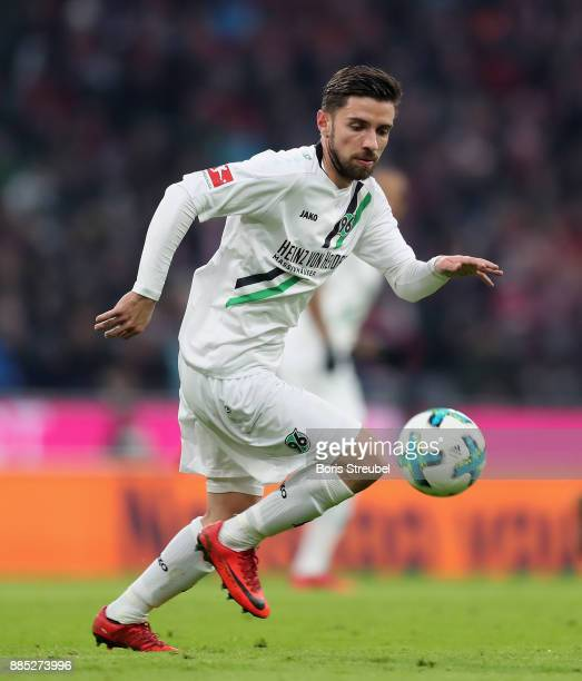 Julian Korb of Hannover 96 runs with the ball during the Bundesliga match between FC Bayern Muenchen and Hannover 96 at Allianz Arena on December 2...