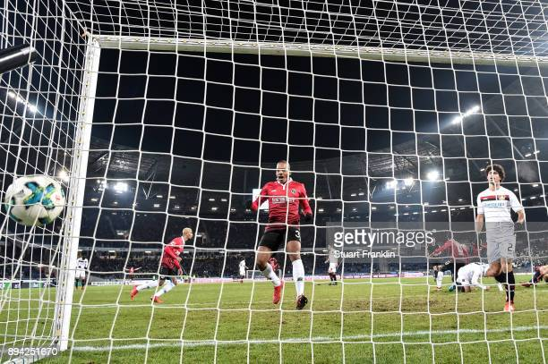 Julian Korb of Hannover 96 scores a goal to make it 44 during the Bundesliga match between Hannover 96 and Bayer 04 Leverkusen at HDIArena on...