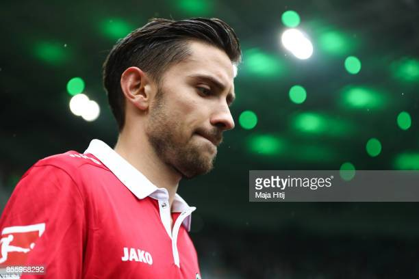 Julian Korb of Hannover arrives to the pitch prior the Bundesliga match between Borussia Moenchengladbach and Hannover 96 at BorussiaPark on...