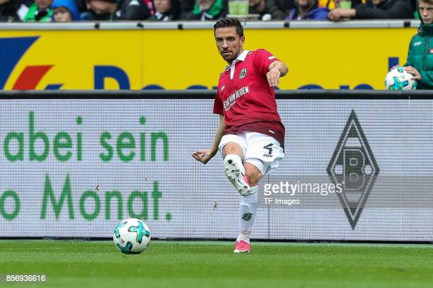 Julian Korb of Hannover controls the ball during the Bundesliga match between Borussia Moenchengladbach and Hannover 96 at BorussiaPark on September...