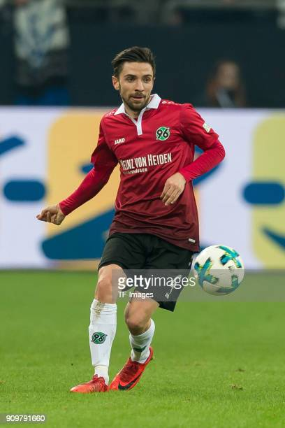 Julian Korb of Hannover controls the ball during the Bundesliga match between FC Schalke 04 and Hannover 96 at VeltinsArena on January 21 2018 in...