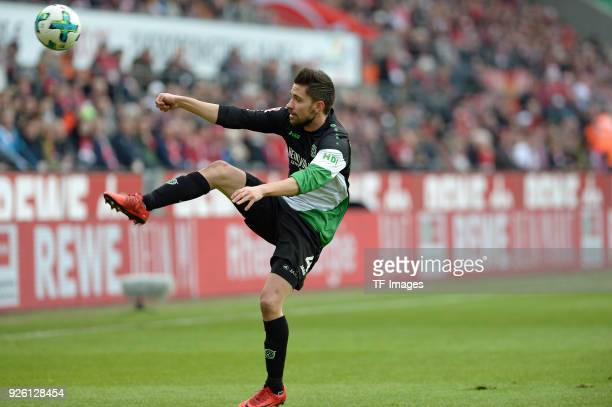 Julian Korb of Hannover controls the ball during the Bundesliga match between 1 FC Koeln and Hannover 96 at RheinEnergieStadion on February 17 2018...
