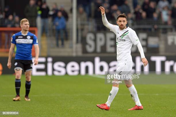 Julian Korb of Hannover gestures during the HHotelscom Wintercup match between Arminia Bielefeld and Hannover 96 at SchuecoArena on January 6 2018 in...