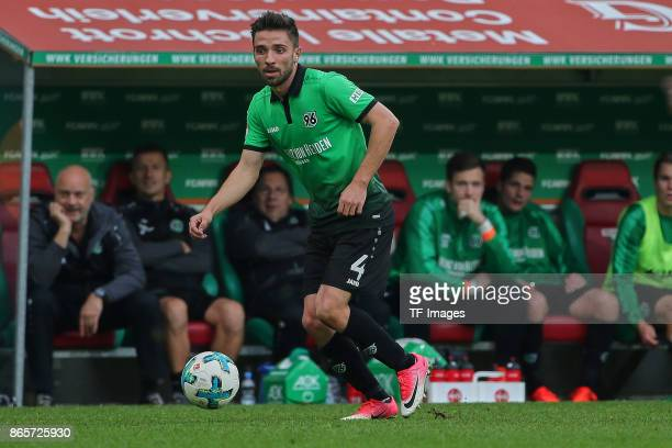 Julian Korb of Hannover in action during the Bundesliga match between FC Augsburg and Hannover 96 at WWKArena on October 21 2017 in Augsburg Germany