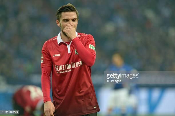 Julian Korb of Hannover looks on during the Bundesliga match between FC Schalke 04 and Hannover 96 at VeltinsArena on January 21 2018 in...