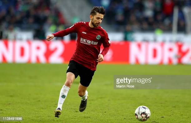 Julian Korb of Hannover runs with the ball during the Bundesliga match between Hannover 96 and 1 FC Nuernberg at HDIArena on February 09 2019 in...