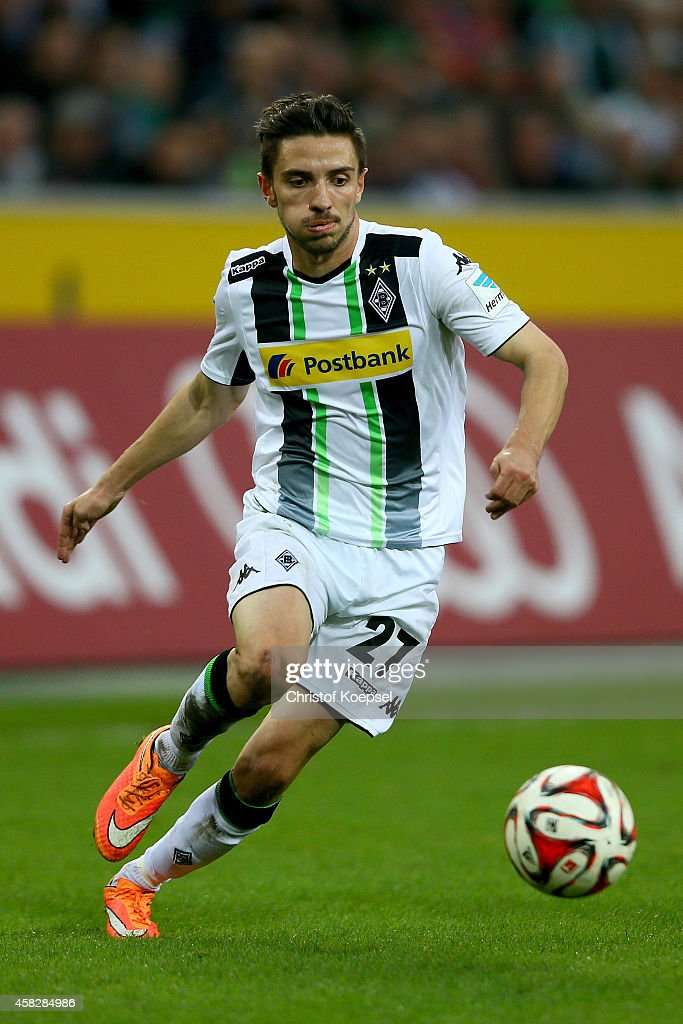 Julian Korb of Moenchengladbach runs with the ball during the Bundesliga match between Borussia Moenchengladbach and 1899 Hoffenheim at Borussia Park Stadium on November 2, 2014 in Moenchengladbach, Germany.