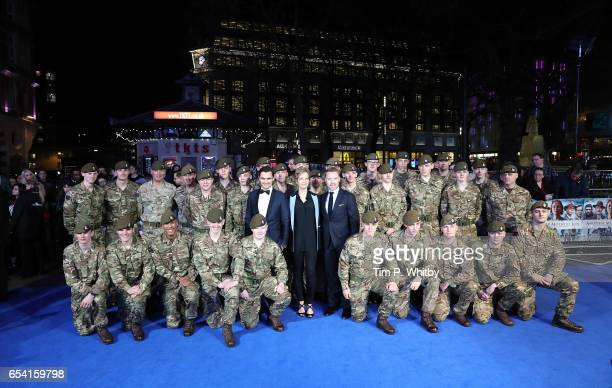 Julian Kostov Jenny Seagrove and Ronan Keating pose with members of the Armed Forces at the World Premiere of 'Another Mother's Son' on March 16 2017...