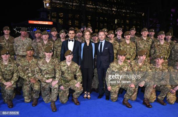 Julian Kostov Jenny Seagrove and Ronan Keating pose with The Grenadier Guards and Scots Guards in support of the Armed Forces Fund at the World...