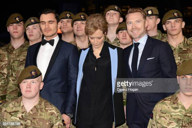 Julian Kostov Ronan Keating and Jenny Seagrove with the Members of the Grenadier Guards and Scots Guards in support of the Armed Forces Fund attend...