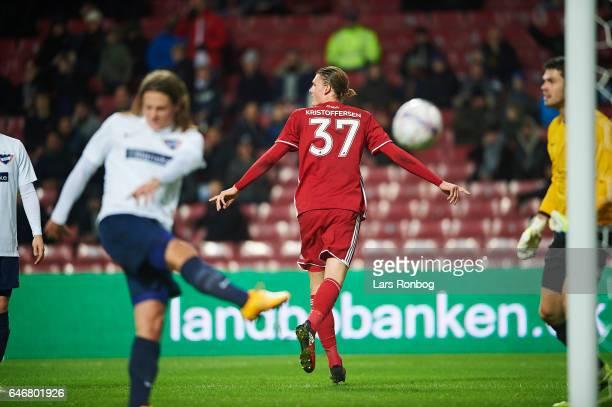 Julian Kristoffersen of FC Copenhagen celebrates after scoring their first goal during the Danish Cup DBU Pokalen match match between B93 and FC...