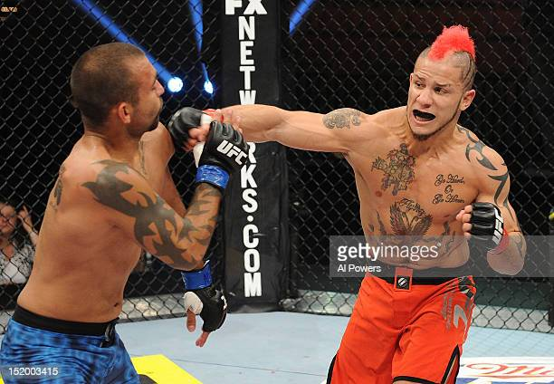 Julian Lane punches Diego Bautista during an elimination bout to join the cast of The Ultimate Fighter season sixteen at Mandalay Bay on July 31,...