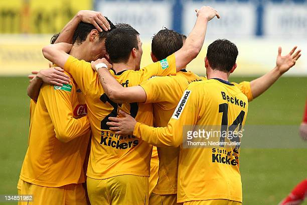Julian Leicht of Stuttgart celebrates his goal with his teammates during the Regionalliga south match between SG Sonnenhof Grossaspach and...