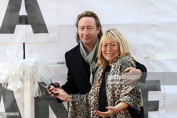 Julian Lennon and Cynthia Lennon the son and first wife of John Lennon attend the unveiling of the John Lennon monument 'Peace Harmony' at Chavasse...