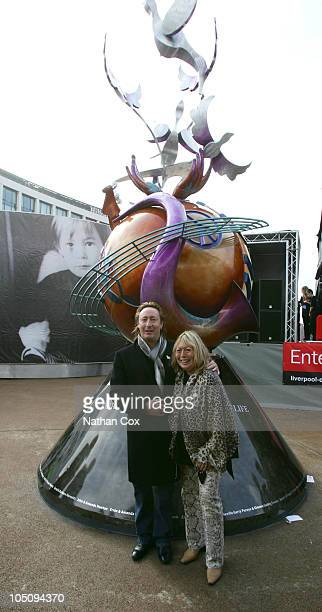 Julian Lennon and Cynthia Lennon unveil European Peace Monument in Liverpool to celebrate John Lennon's 70th birthday on October 9 2010 in Liverpool...