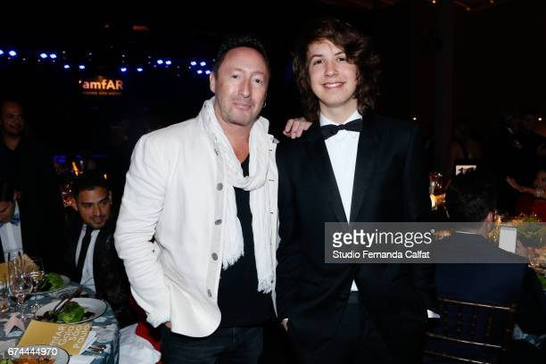 Julian Lennon and Lucas Jagger attend the 7th Annual amfAR Inspiration Gala on April 27 2017 in Sao Paulo Brazil