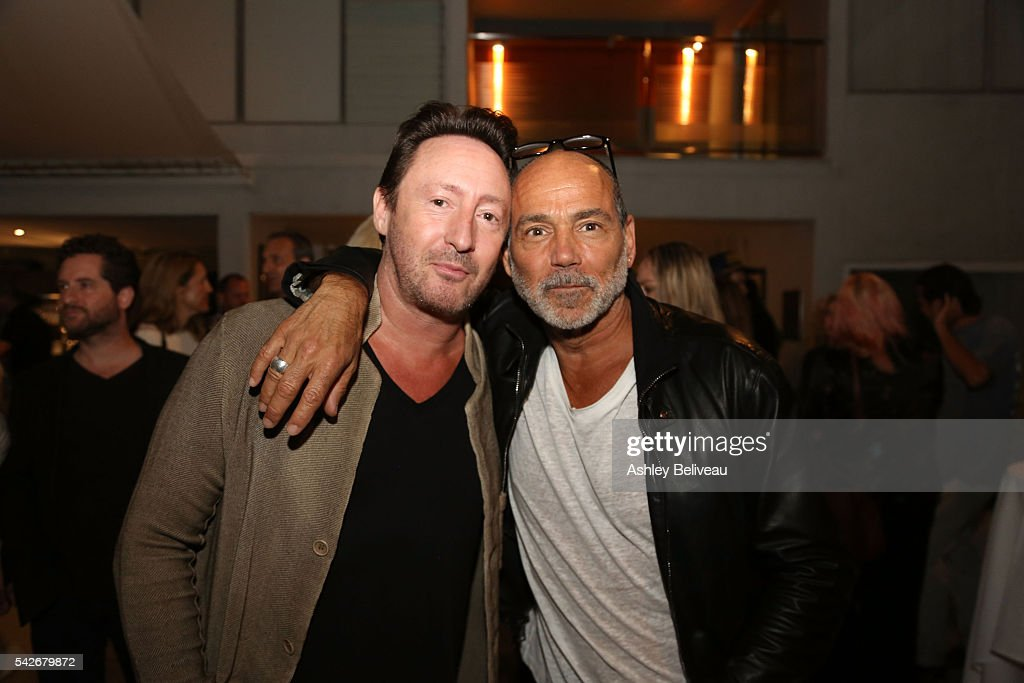 Julian Lennon and Timothy White attend the celebration for 'Don't Look Back' exhibit at Morrison Hotel Gallery on June 23, 2016 in West Hollywood, California.