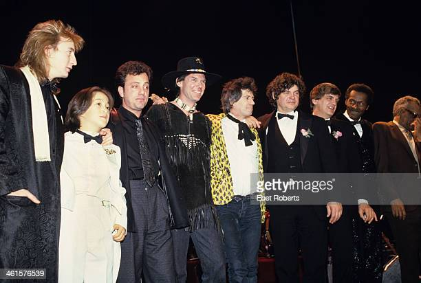 Julian Lennon Sean Lennon Billy Joel Neil Young Keith Richards Don Everly and Phil Everly Chuck Berry Ray Charles photographed at the Rock and Roll...