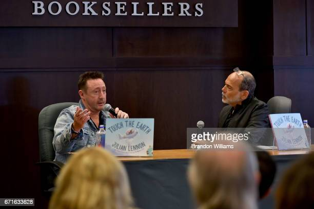 Julian Lennon speaks to fans during his book signing for Touch the Earth at Barnes Noble at The Grove on