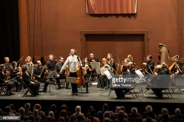Julian Lloyd Webber performs during his last ever show with The English Chamber Orchestra at Forum Theatre on May 2 2014 in Great Malvern United...