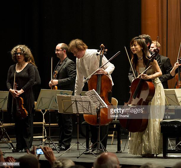 Julian Lloyd Webber performs with his wife Jiaxin Cheng during his last ever show with The English Chamber Orchestra at Forum Theatre on May 2 2014...