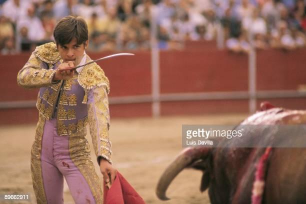 Julian Lopez ´El Juli´ in a bullfight The bullfighter getting ready to kill