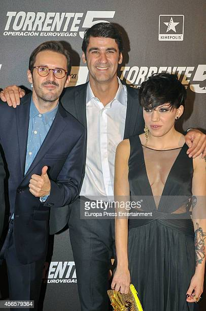 Julian Lopez Jesulin de Ubrique and Angy Fernandez attend the 'Torrente 5 Operacion Eurovegas' premier on October 2 2014 in Madrid Spain