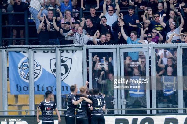 Julian Marchioni of FC Den Bosch Jort van der Sande of FC Den Bosch Kevin Felida of FC Den Bosch celebrate goal during the Dutch Keuken Kampioen...