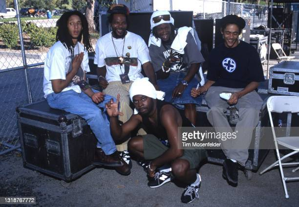 Julian Marley and Damian Marley and friends pose during Lollapalooza at Shoreline Amphitheatre on August 16, 1997 in Mountain View, California.