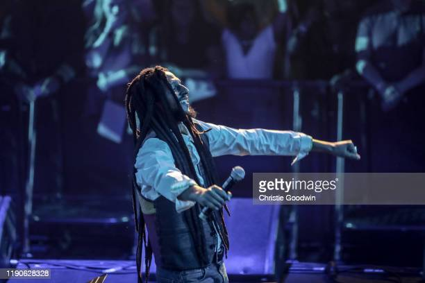 Julian Marley appears as guest as David Rodigan aka Ram Jam and the Outlook Orchestra perform at the Royal Albert Hall on March 12, 2019 in London,...