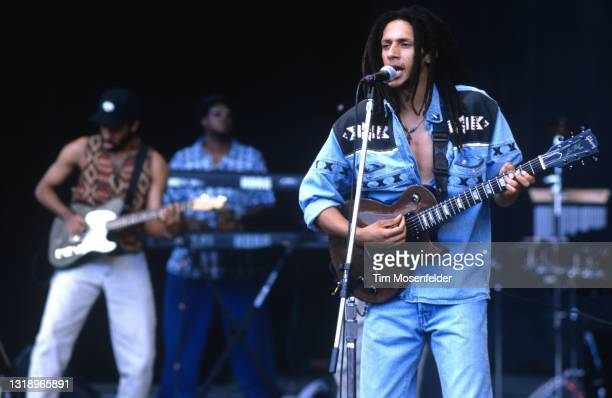 Julian Marley performs during Lollapalooza at Shoreline Amphitheatre on August 16, 1997 in Mountain View, California.