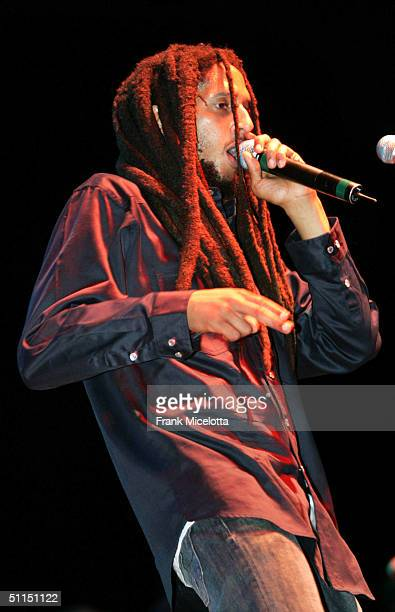 """Julian Marley, son of Bob Marley, performs onstage at the first stop of the """"Roots, Rock, Reggae Tour 2004"""" at the Telos Pavilion Harbor Center..."""