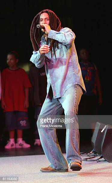 """Julian Marley, son of Bob Marley, performs onstage at the """"Roots, Rock, Reggae Tour 2004"""" at the Filene Center August 8, 2004 in Vienna, Virginia"""