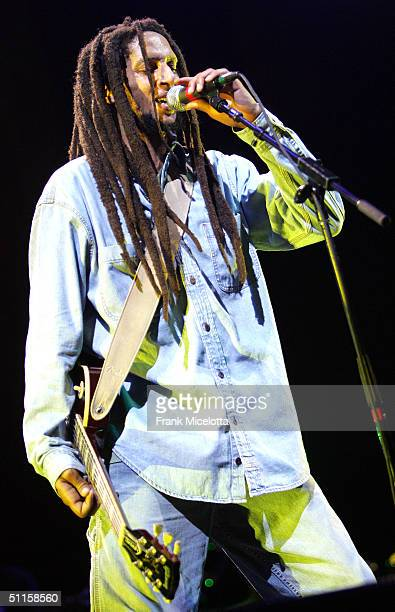 """Julian Marley, son of Bob Marley, performs onstage at the """"Roots, Rock, Reggae Tour 2004"""" at Prospect Park August 10, 2004 in New York City."""