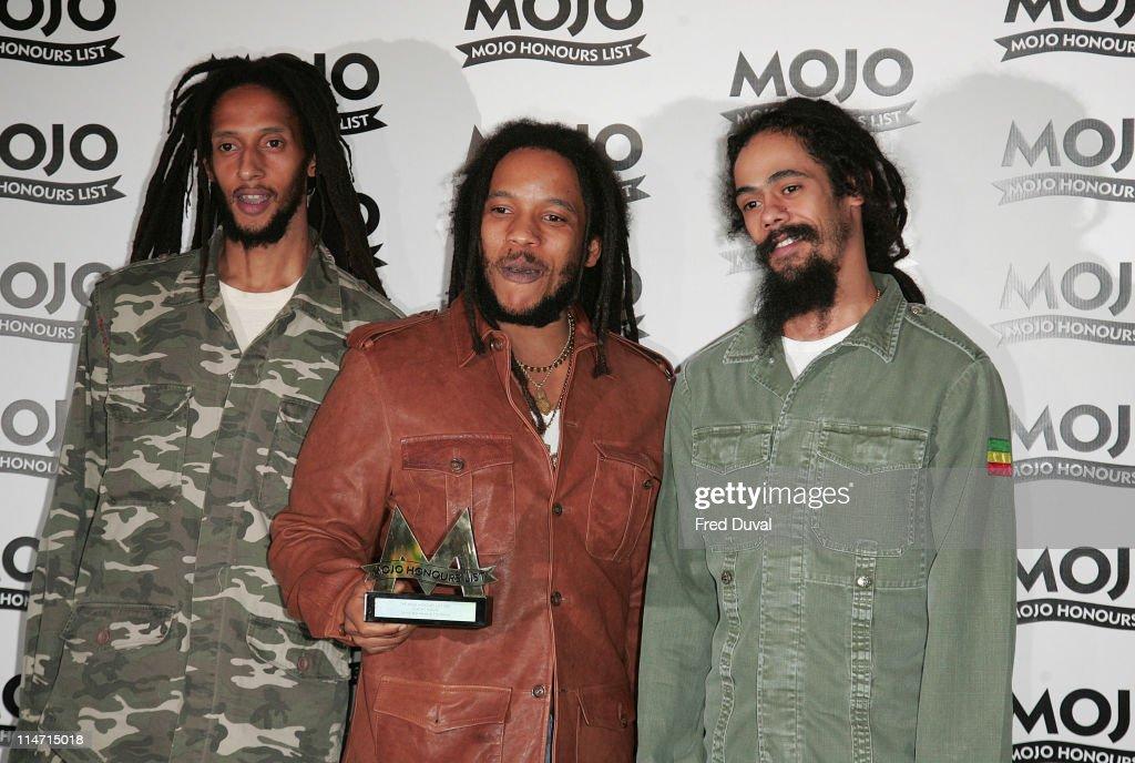 Julian Marley, Stephen Marley and Damian Marley, sons of Bob Marley, winner MOJO Classic Album Award for 'Exodus' by Bob Marley & the Wailers