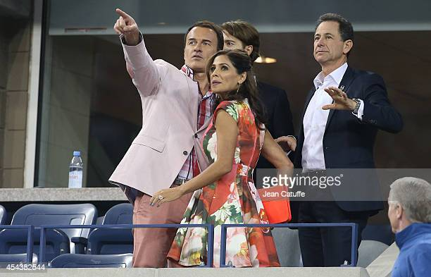 Julian McMahon and Kelly Paniagua attend Day 5 of the 2014 US Open at USTA Billie Jean King National Tennis Center on August 29 2014 in the Flushing...