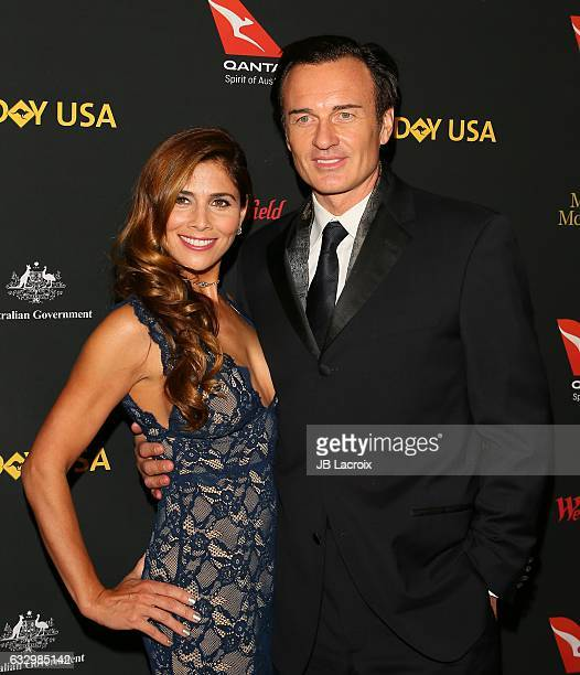Julian McMahon and Kelly Paniagua attend the 2017 G'Day Black Tie Gala at Governors Ballroom At Hollywood And Highland on January 28 2017 in...