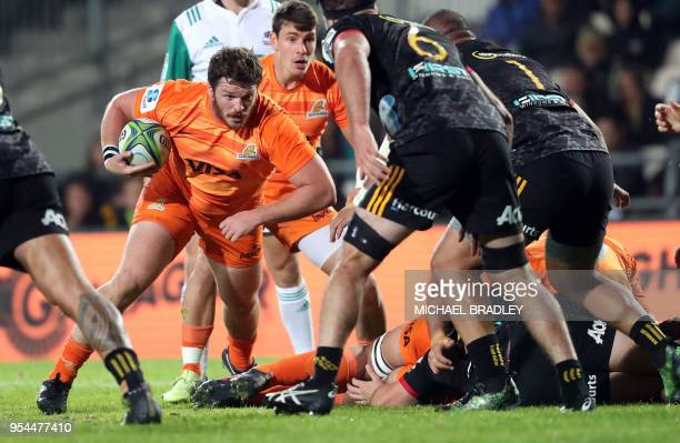 Julian Montoya of the Jaguares runs with the ball during the Super Rugby match between the Waikato Chiefs of New Zealand and the Jaguares of...