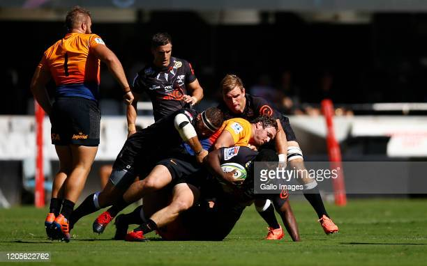 Julian Montoya of the Jaguares tackling Ox Nche of the Cell C Sharks during the Super Rugby match between Cell C Sharks and Jaguares at Jonsson Kings...