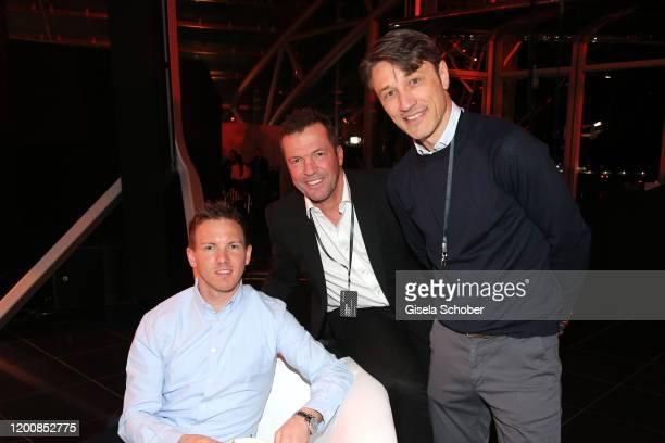 Julian Nagelsmann, Coach of RB Leipzig, Lothar Matthaeus, Niko Kovac during the Scuderia AlphaTauri launch event at Hangar 7 on February 14, 2020 in...
