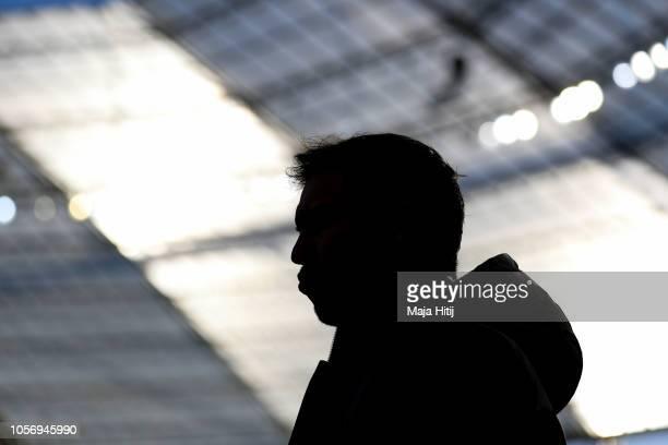 Julian Nagelsmann Head Coach of 1899 Hoffenheim looks on prior to the Bundesliga match between Bayer 04 Leverkusen and TSG 1899 Hoffenheim at...
