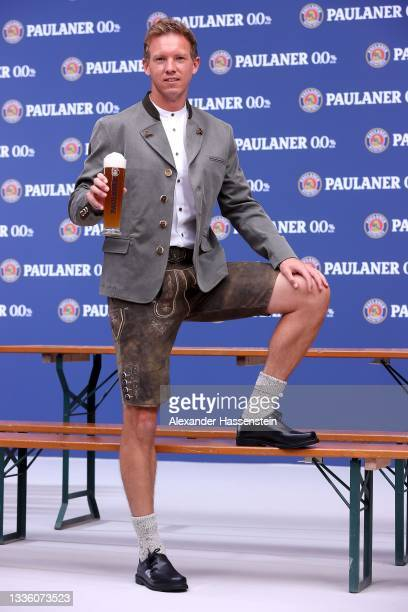 Julian Nagelsmann, head coach of FC Bayern München attends the FC Bayern Muenchen and Paulaner photo session at Nockherberg on August 23, 2021 in...